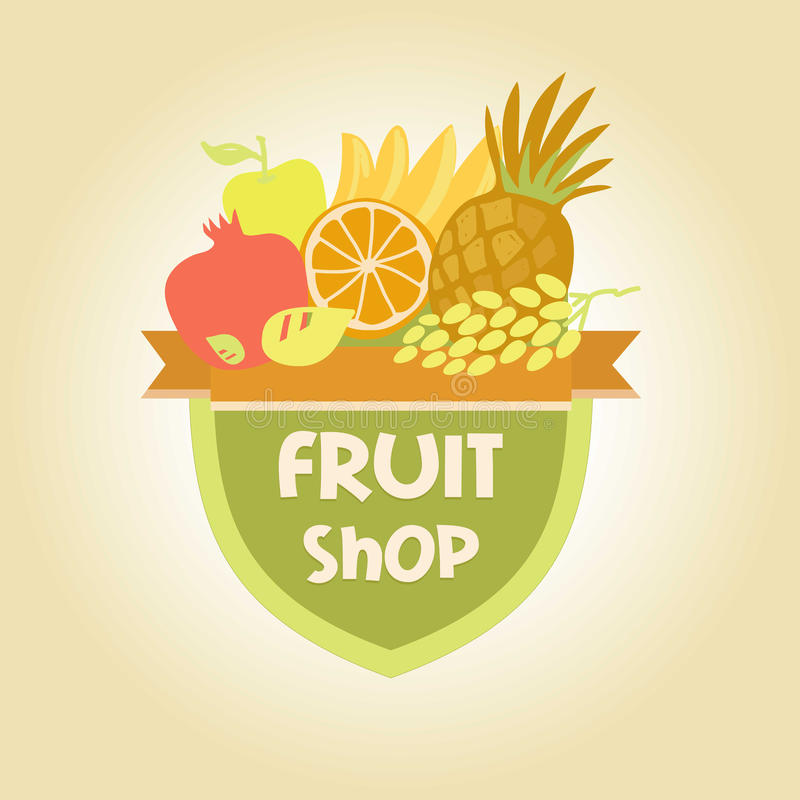 Vector logo for a store of fruits, fruit juice vector illustration