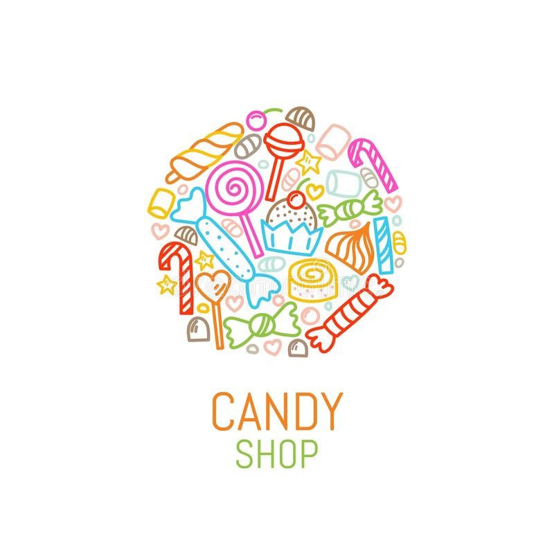 Vector logo template of candy shop with sweets in linear style. Great for candy shop, fabric, bakery, cafe design. Vector illustration stock illustration