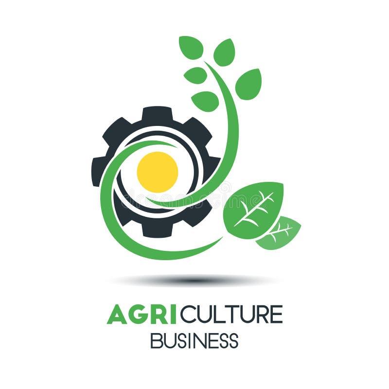Vector Logo Template del negocio de la agricultura Hoja verde con dos B ilustración del vector