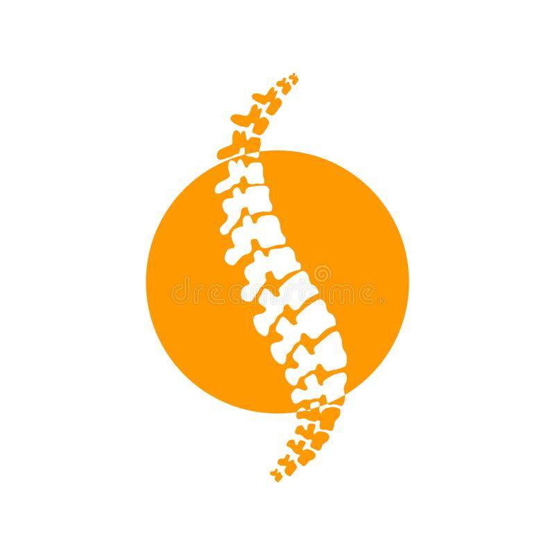 Vector logo template. Human spine isolated silhouette illustration. stock illustration