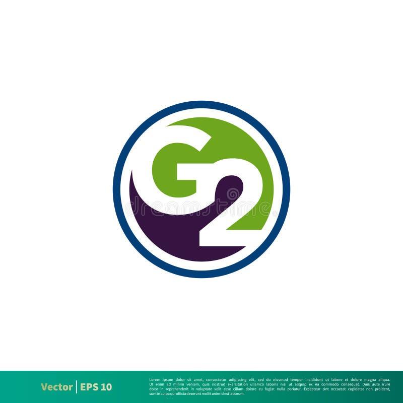 Vector Logo Template Illustration Design del icono de la letra G2 Vector EPS 10 stock de ilustración
