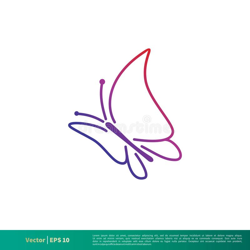 Vector Logo Template Illustration Design del icono de Lineart de la mariposa Vector EPS 10 stock de ilustración