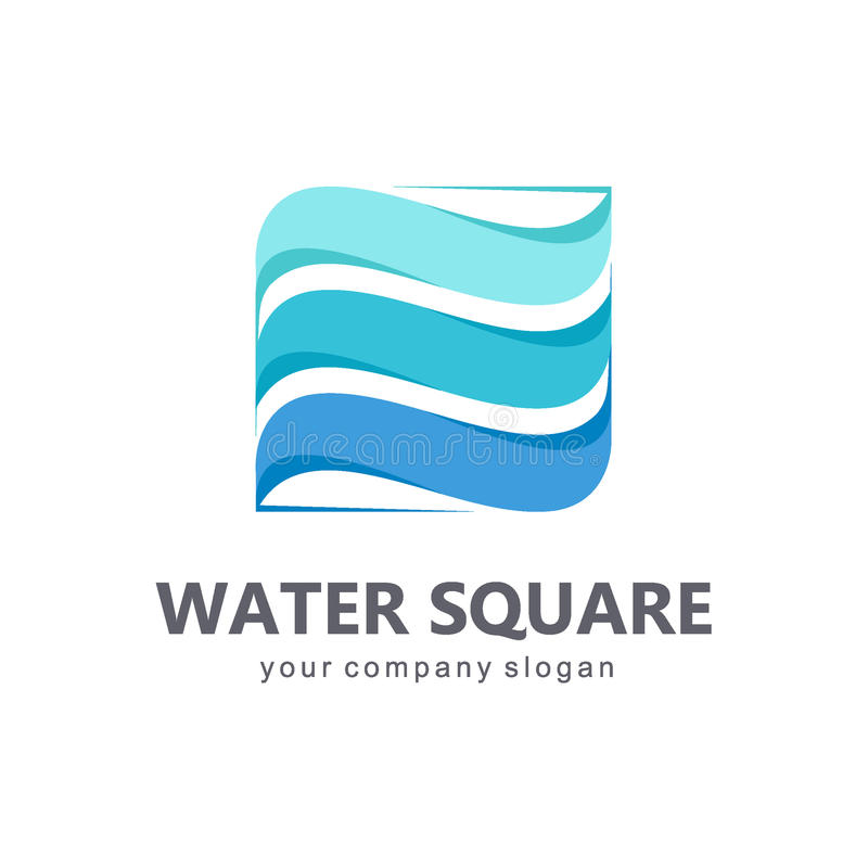 Vector logo template. Sign for cleaning pipes and sewage systems, water filters. Clean water. Water square royalty free illustration