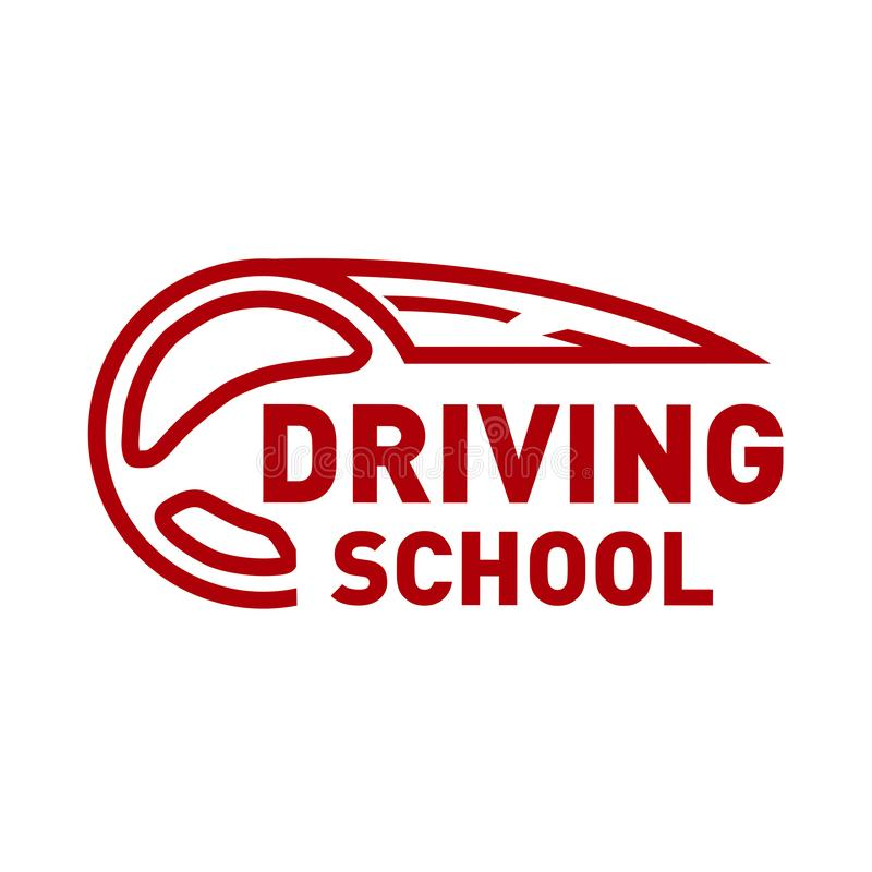 Vector logo on the theme of driving school, car vector illustration