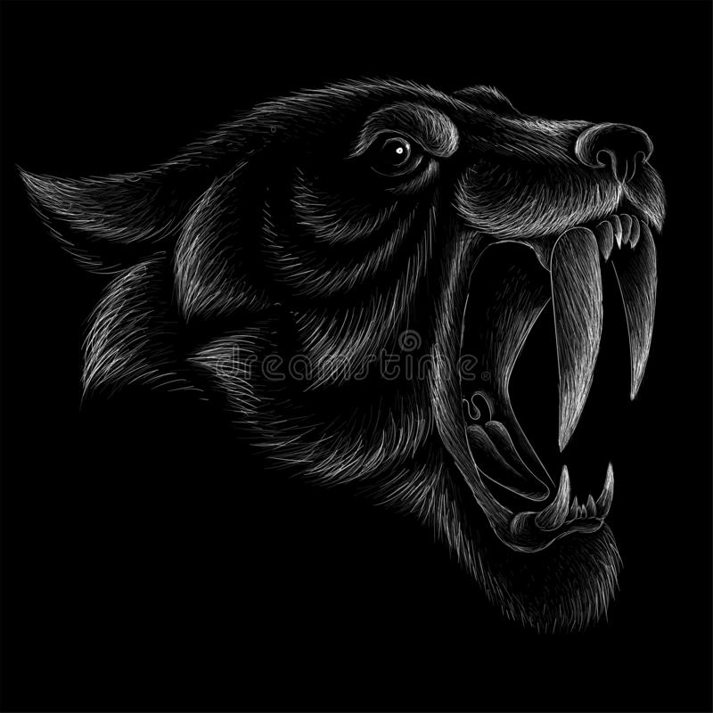 The Vector logo tiger for tattoo or T-shirt design or outwear.  Hunting style tigers print on black background. The Vector logo tiger for tattoo or T-shirt stock photos