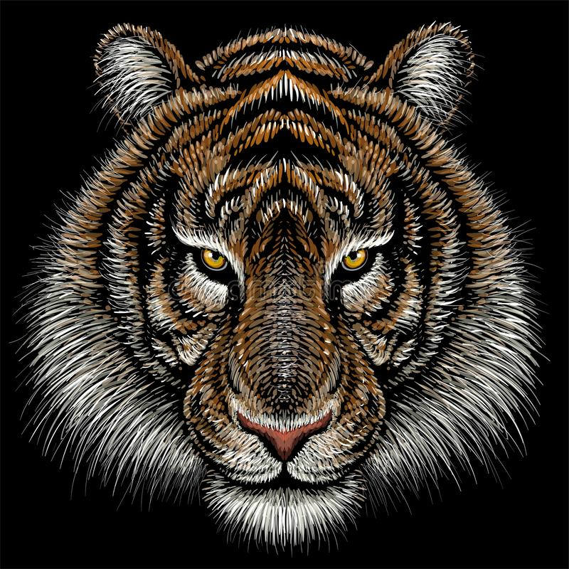 The Vector logo tiger for tattoo or T-shirt design or outwear.  Hunting style tigers print on black background. This drawing is fo. R black fabric or canvas stock photo