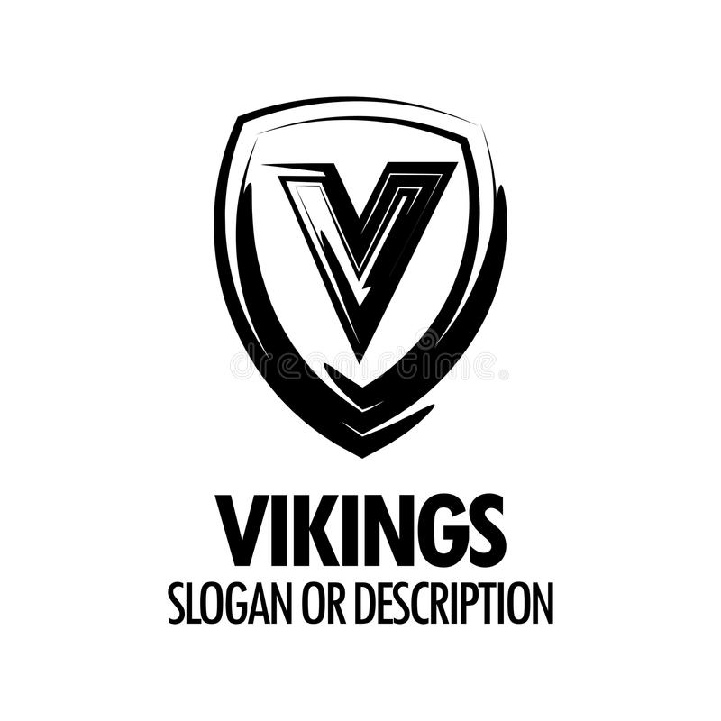 Vector Logo with Vikings Medieval Shield isolated on white background. Style Emblem with Caption for Protection, Security or Sport company royalty free illustration