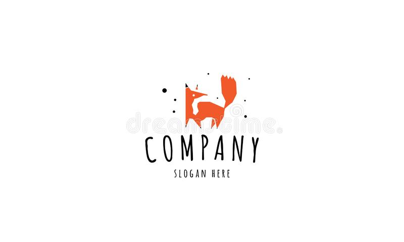 Vector logo on which an abstract image of a fox. stock illustration