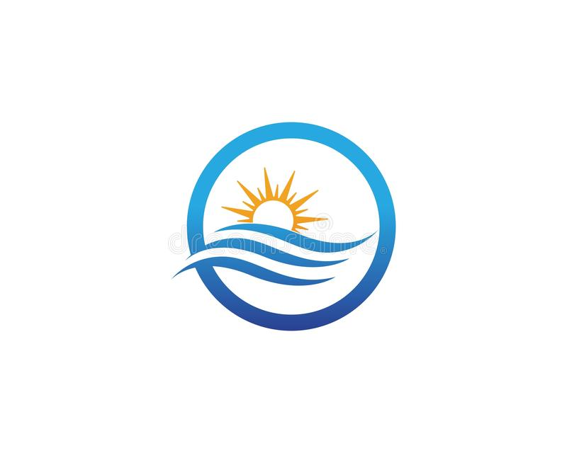 Vector Logo with yellow sun and blue sea waves stock illustration