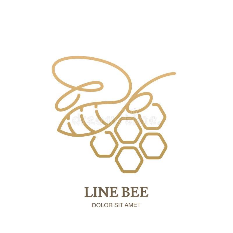 Vector Logoikone oder -emblem mit goldener Honigbiene und Bienenwaben Abstrakte Auslegung-Schablone Entwurfsbienenillustration vektor abbildung