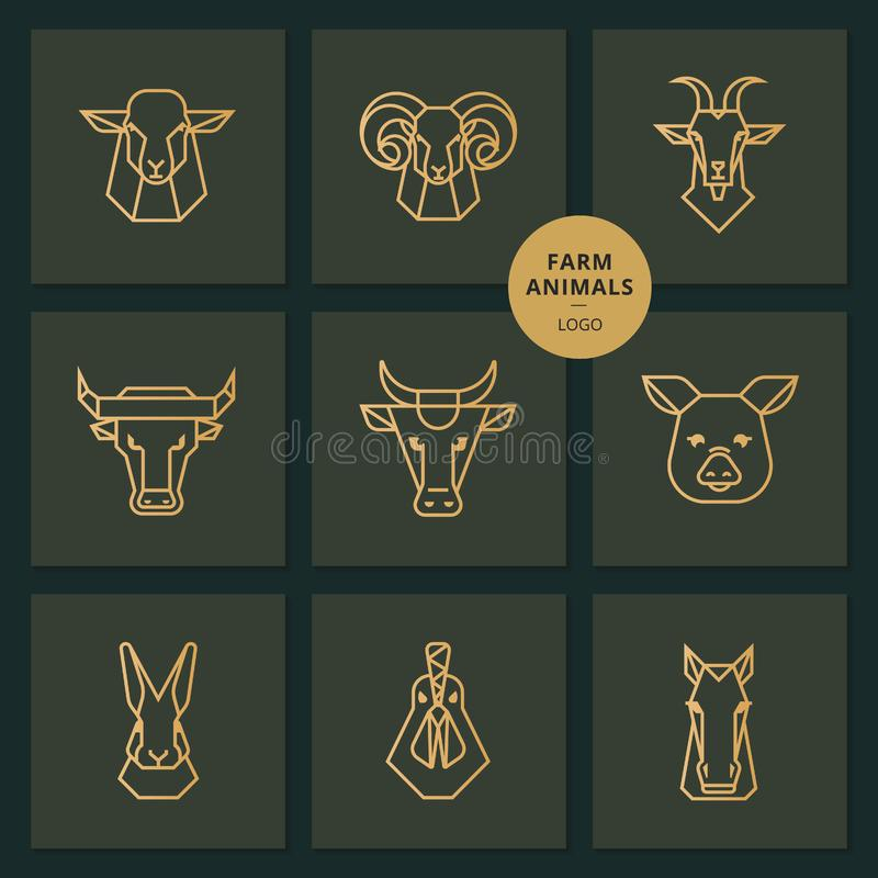 Vector logos of American food, a large set of vectors icons of heads of farm animals stock illustration