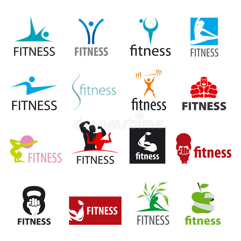 Vector logos fitness and sports. Set of vector logos fitness and sports vector illustration