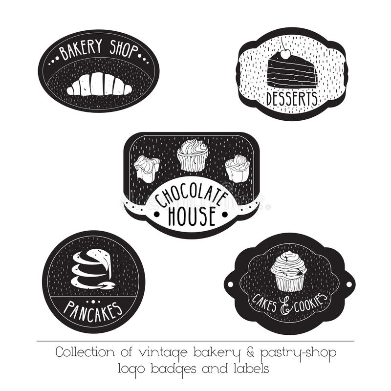 Vector logos with hand drawn elements isolated on white. Set of vintage bakery and pastry- shop logo badges and labels. vector illustration