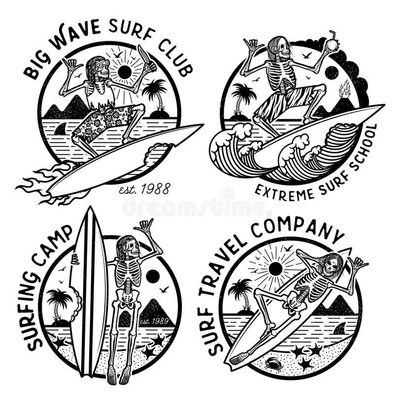 Vector Logos Illustration with Skeleton Surfers. Set of Vintage Surfing Emblems for web design or print. Surfer logo templates. Surf Badge. Surfboard elements royalty free illustration