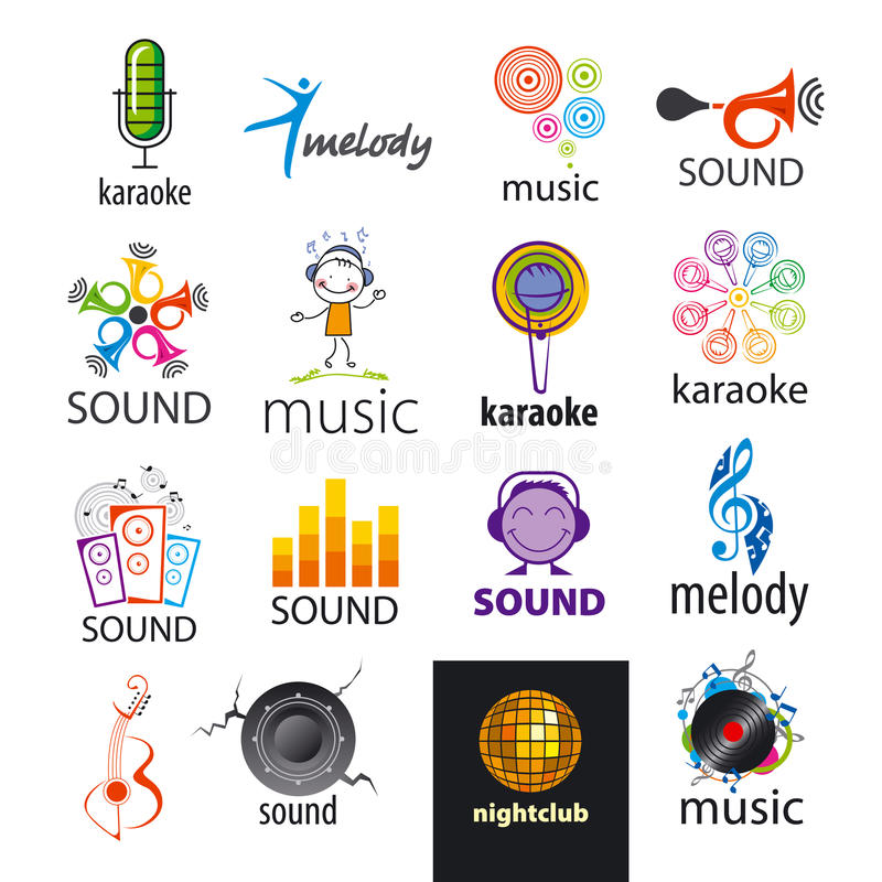 Vector logos music and sounds stock illustration