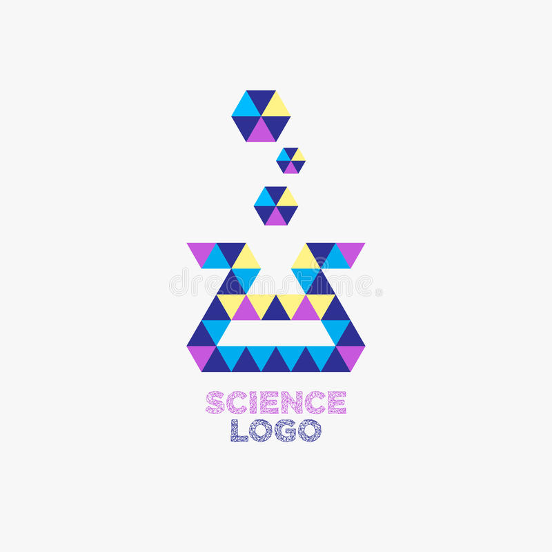 Vector: Logotipo de la compañía de la ciencia con el icono de los frascos del laboratorio en político libre illustration