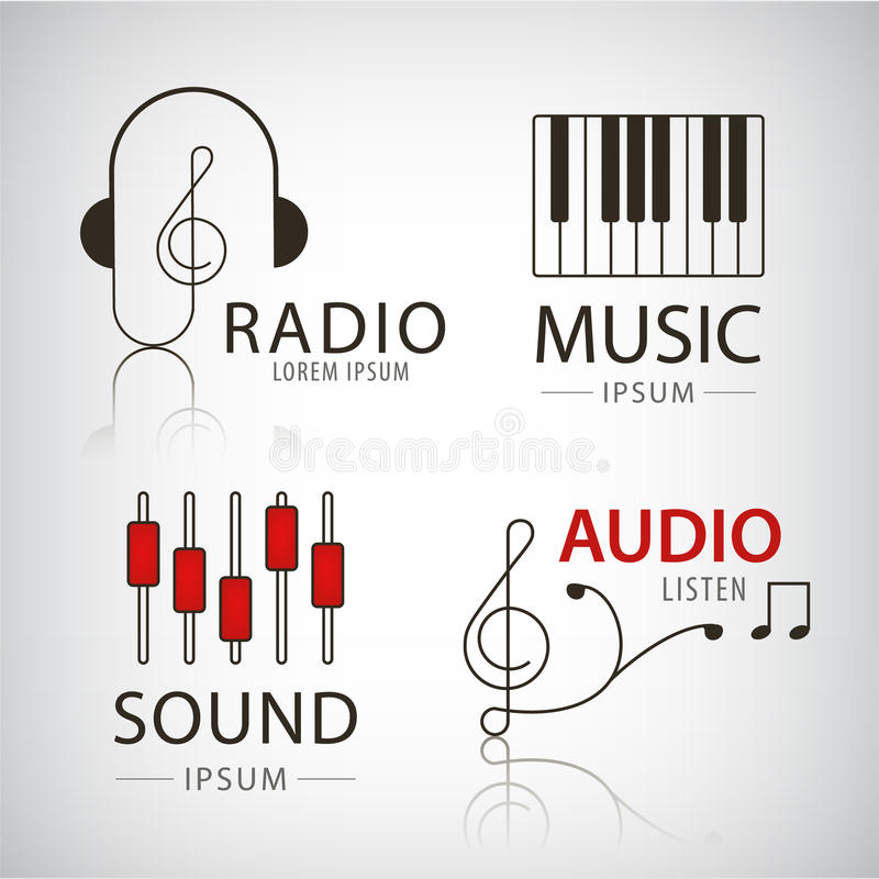 Vector logotipos musicais e os ícones ajustados do projeto ilustração do vetor