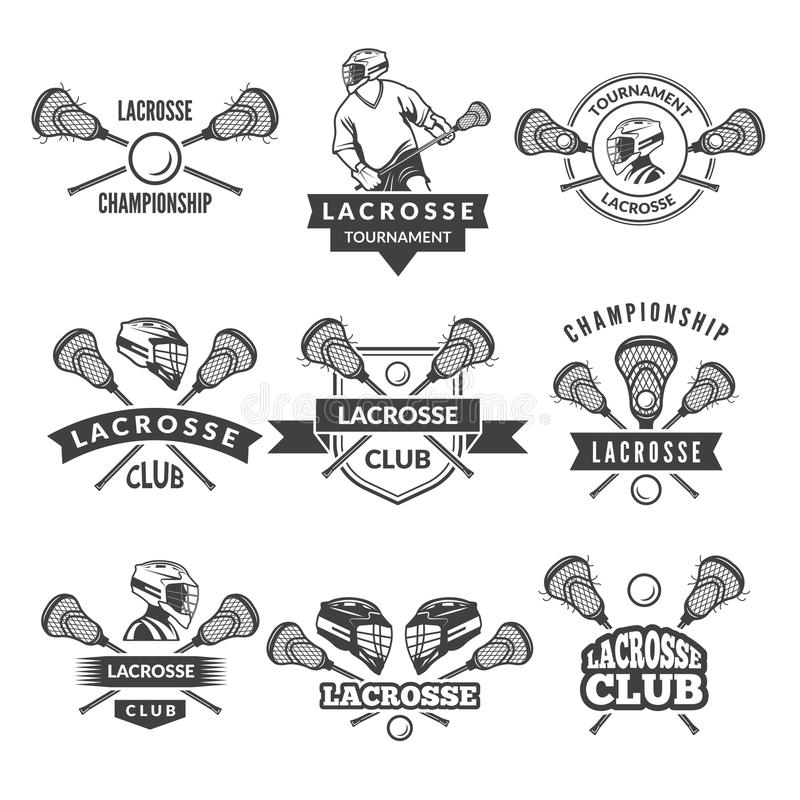 Vector logotipos ou etiquetas para a equipe da lacrosse na faculdade do esporte ilustração royalty free