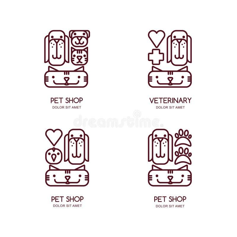 Vector a loja de animais de estimação, logotipo veterinário do esboço, emblema, projeto da etiqueta Conceito de projeto para a pr ilustração stock