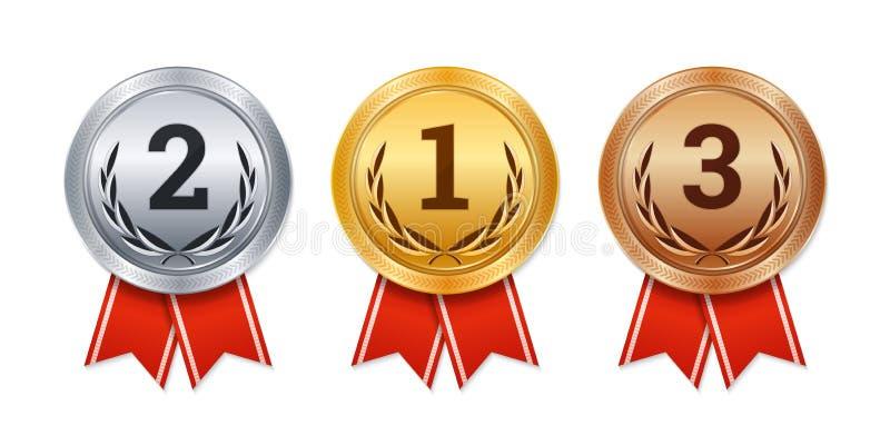 Vector lokalisierte Gold-, silberne und Bronzemedaillen, Meisterpreise, stock abbildung