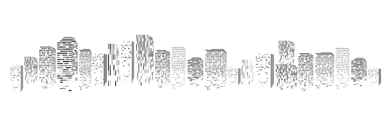 Vector lokalisiertes Schattenbild der Großstadtstadt, die errichtenden Wolkenkratzer, Geschäftszentren Dämmerung, blauer Sonnenun stock abbildung