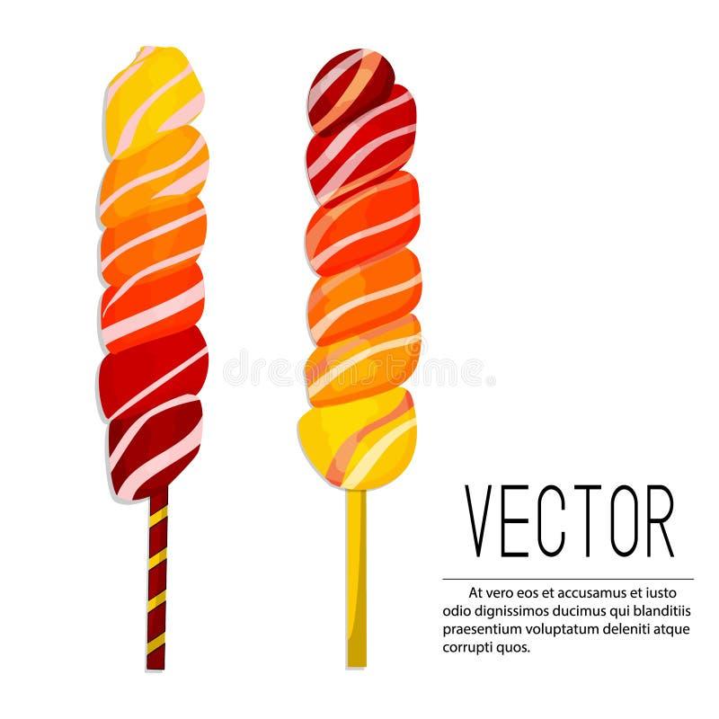 Vector lollipop illustration. Ombre candies yellow red caramel dessert on stick. Sugar spiral food snack for children stock illustration