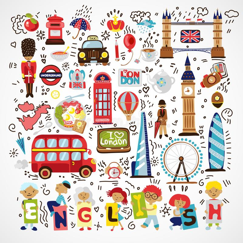 Vector London landmark, symbols. Hand drawn England doodle. London city doodles icon collection. Hand drawn set with royalty free illustration