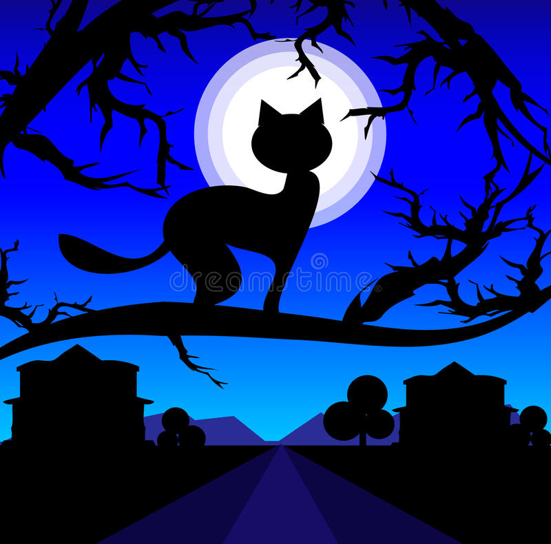 Free Vector Lonely Cat On A Tree Against The Night Sky Royalty Free Stock Photography - 10725387