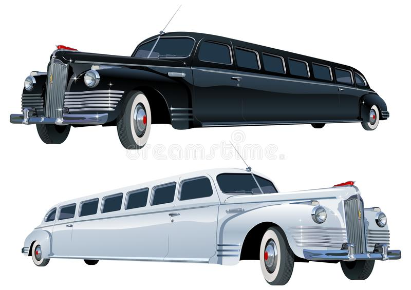 Vector long vintage limo royalty free stock image