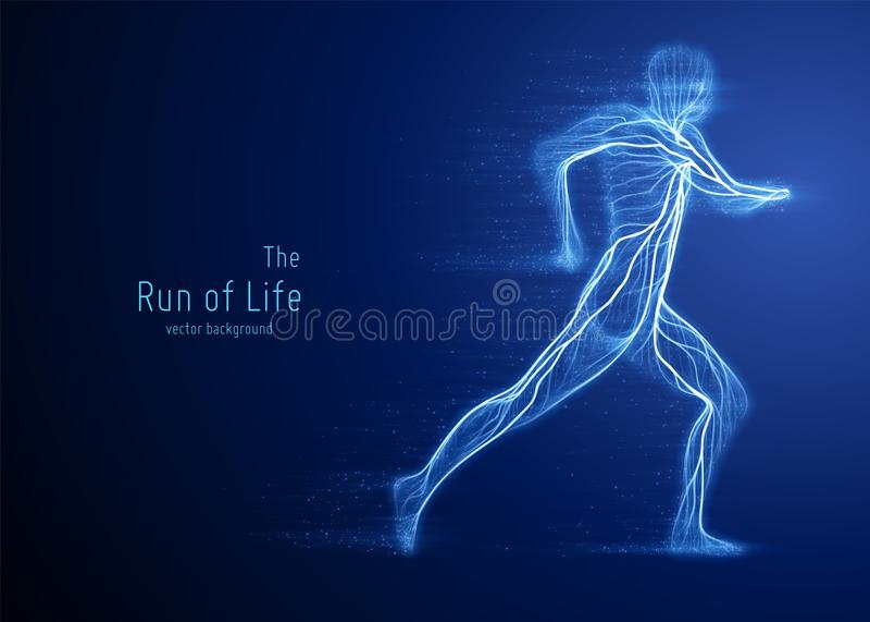 Vector lopende die mens met blauwe lijnen en stromende deeltjes wordt geconstrueerd Concept snelheid en vooruitgang in motie royalty-vrije illustratie