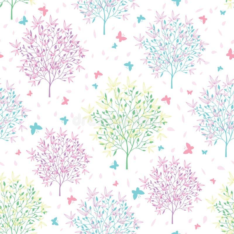 Vector Los árboles Florecientes De La Primavera En Colores Pastel Y ...