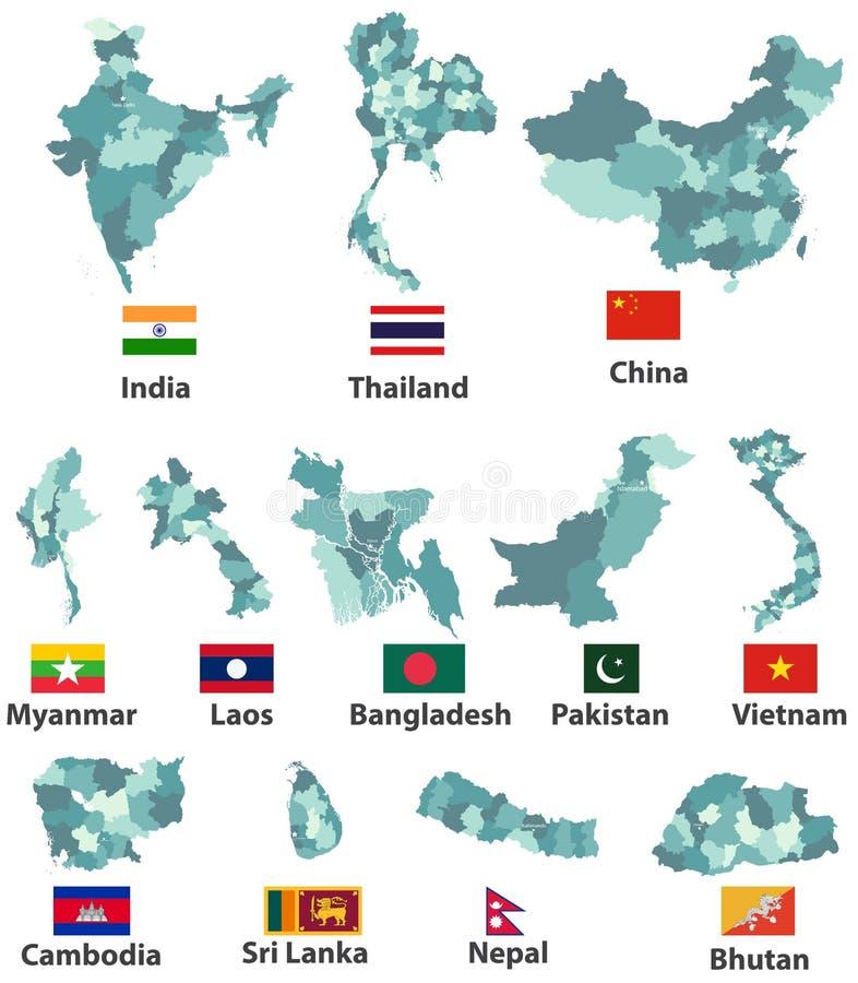 Vector los altos mapas y banderas detallados de países asiáticos del este con las fronteras de las regiones de las divisiones adm ilustración del vector