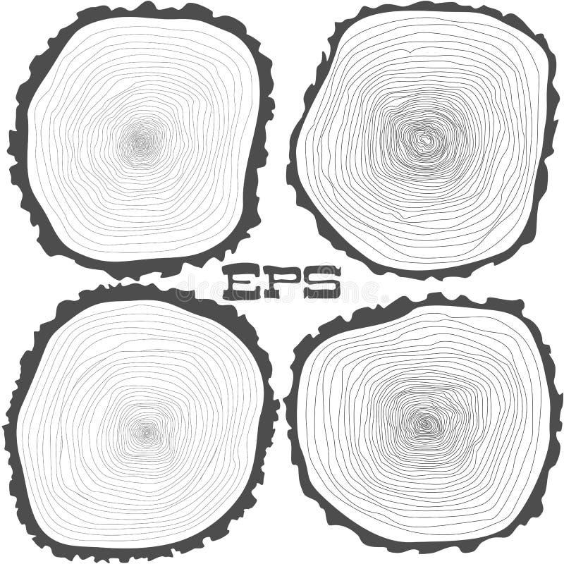 Vector los anillos de árbol fondo y el tronco de árbol del corte de la sierra libre illustration