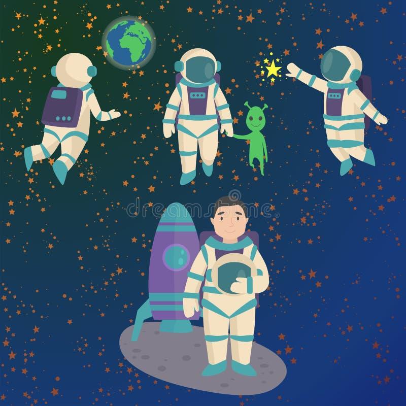 Vector a los astronautas en espacio, carácter de trabajo y tener el hombre del viajero de la fantasía del sistema de la atmósfera libre illustration
