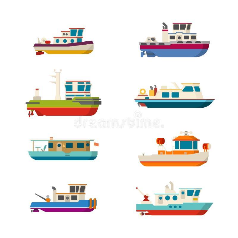 Vector los barcos del mar o de río fijados en estilo plano ilustración del vector