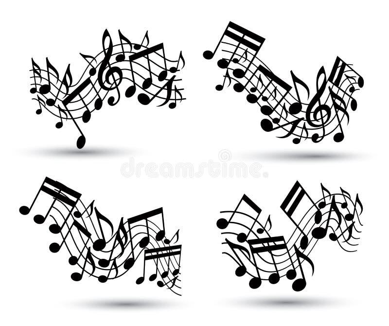 Vector los bastones ondulados alegres negros con las notas musicales sobre el backg blanco ilustración del vector