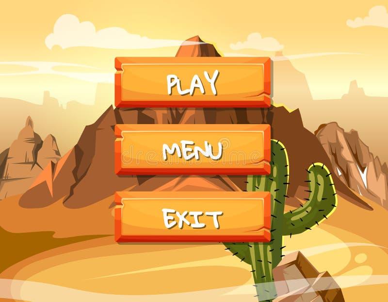 Vector los botones de la roca del estilo de la historieta con el texto para el diseño de juego en fondo de la montaña libre illustration