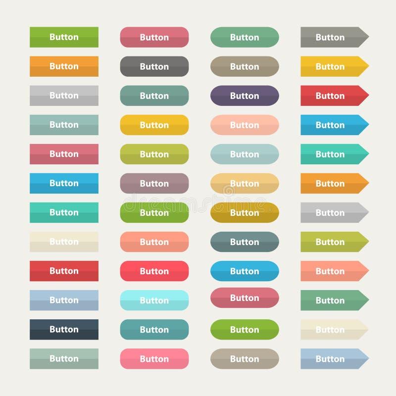 Vector los botones del color del web en el montante plano aislado ilustración del vector