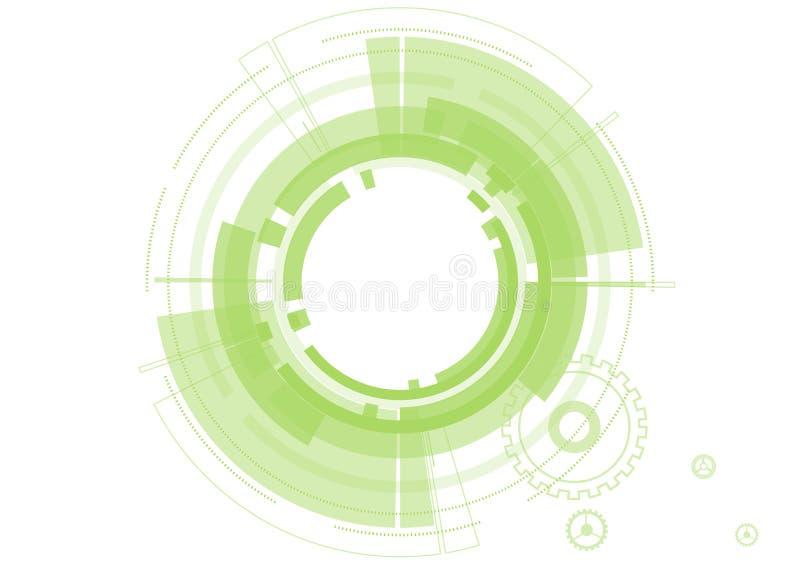 Vector los círculos abstractos del verde de la tecnología en el fondo blanco stock de ilustración
