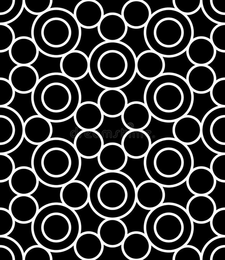 Vector los círculos sagrados inconsútiles modernos del modelo de la geometría, extracto blanco y negro stock de ilustración