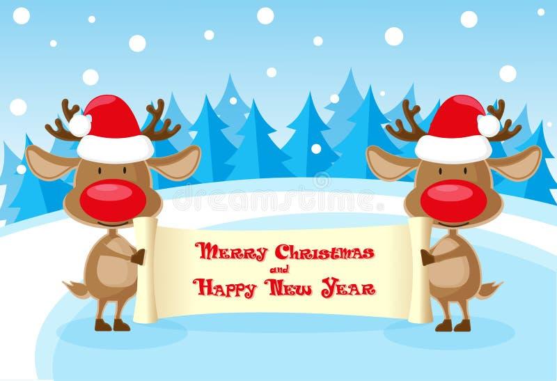 Vector los ciervos divertidos de la bandera dos en el sombrero de Papá Noel en la pista de hielo con la voluta de la Feliz Navida stock de ilustración