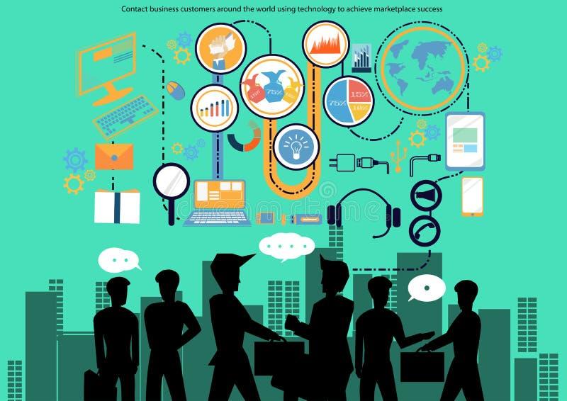 Vector a los clientes empresa del contacto en todo el mundo usando tecnología para alcanzar diseño plano del éxito del mercado ilustración del vector