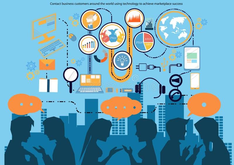 Vector a los clientes empresa del contacto en todo el mundo usando tecnología para alcanzar diseño plano del éxito del mercado stock de ilustración