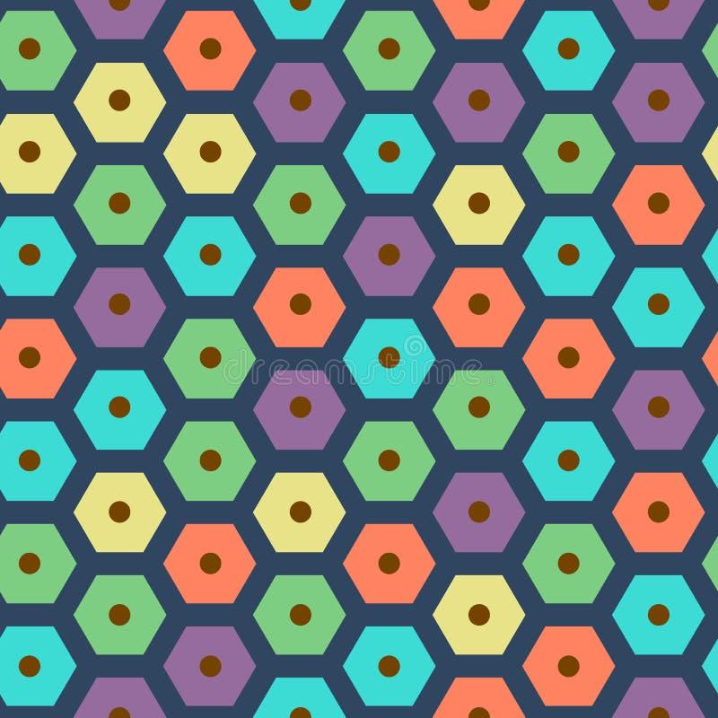 Vector los colores violetas, verdes, amarillos, azul marino, rojos y ciánicos hexagonales inconsútiles del modelo del color stock de ilustración