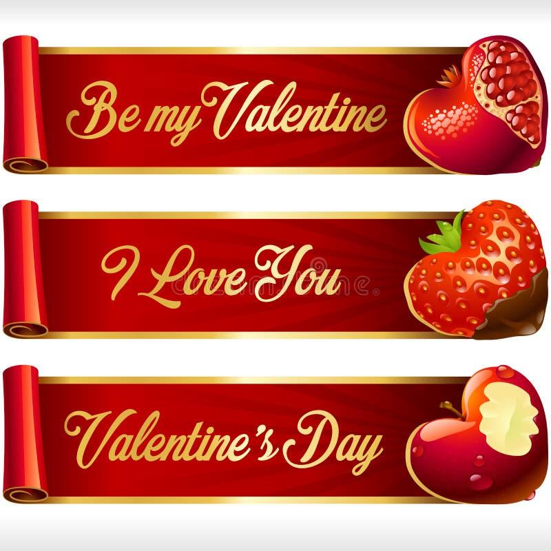 Vector los corazones de la fruta y las banderas horizontales de las cintas rojas fijados stock de ilustración