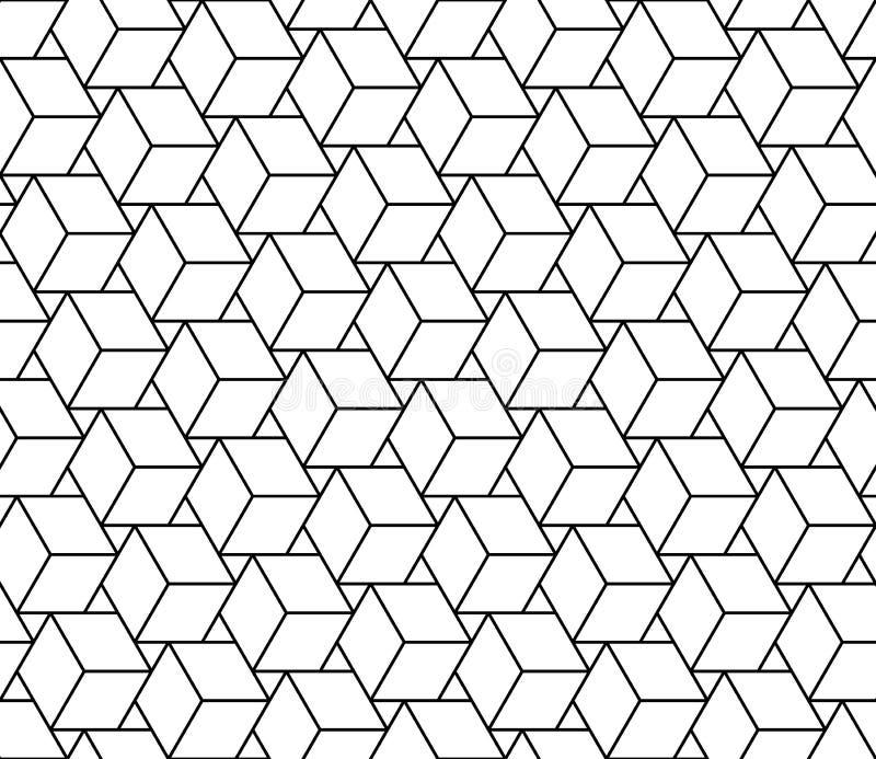 Vector los cubos inconsútiles modernos del modelo de la geometría, extracto blanco y negro ilustración del vector