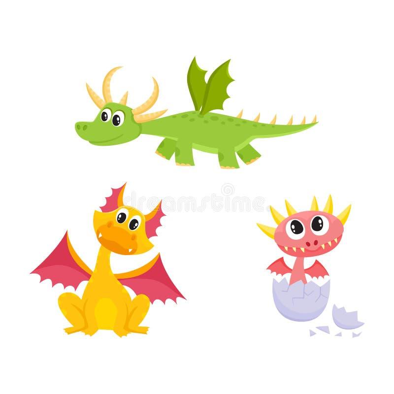 Vector los dragones planos de la historieta con los cuernos, alas fijadas ilustración del vector