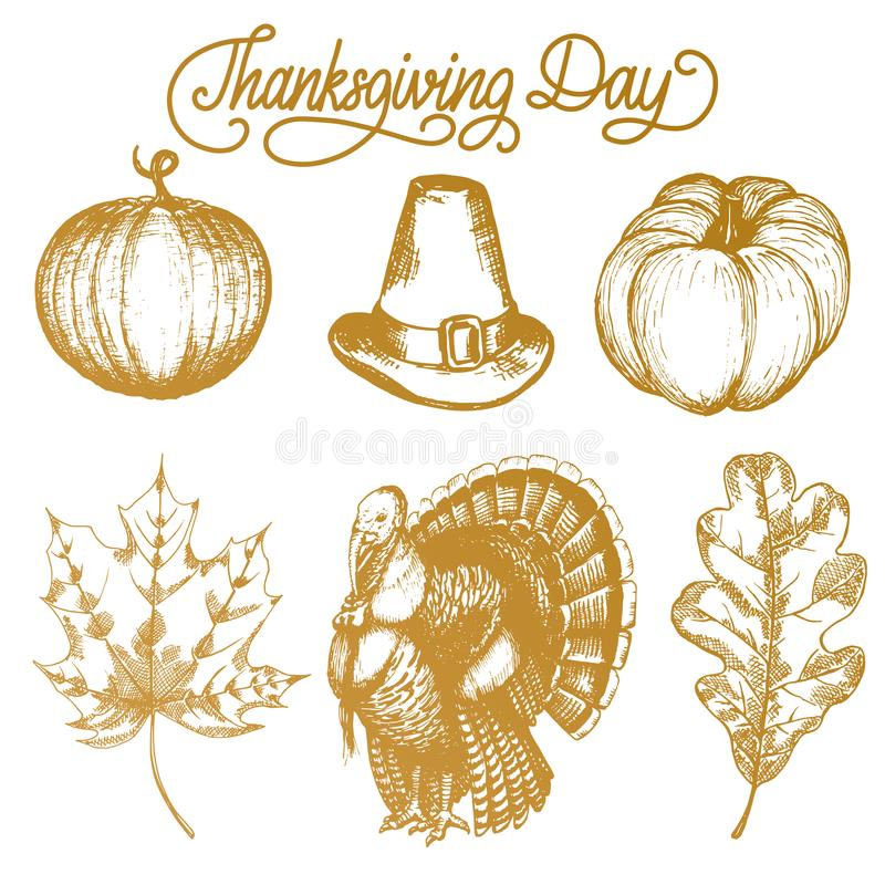 Vector los ejemplos de la acción de gracias para las invitaciones o las tarjetas de felicitación festivas Dé los bosquejos exhaus ilustración del vector
