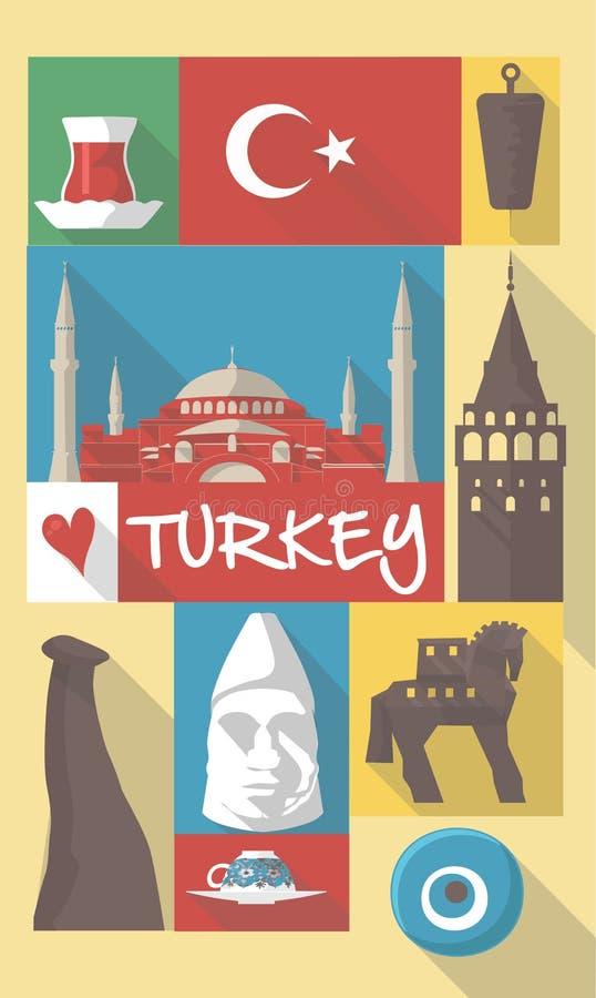 Vector los ejemplos de símbolos culturales famosos del pavo Estambul en un cartel o una postal libre illustration