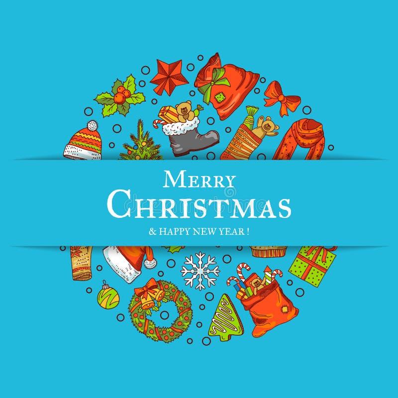 Vector los elementos coloreados dibujados mano de la Navidad con santa, árbol de Navidad, los regalos y tarjeta o fondo de felici ilustración del vector